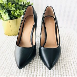 Abound black leather pumps stiletto pointy toe 7.5